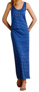 NWT Blue Blouson Maxi Dress by Anthropologie Bodice Side-slit Detail Pullover Styling