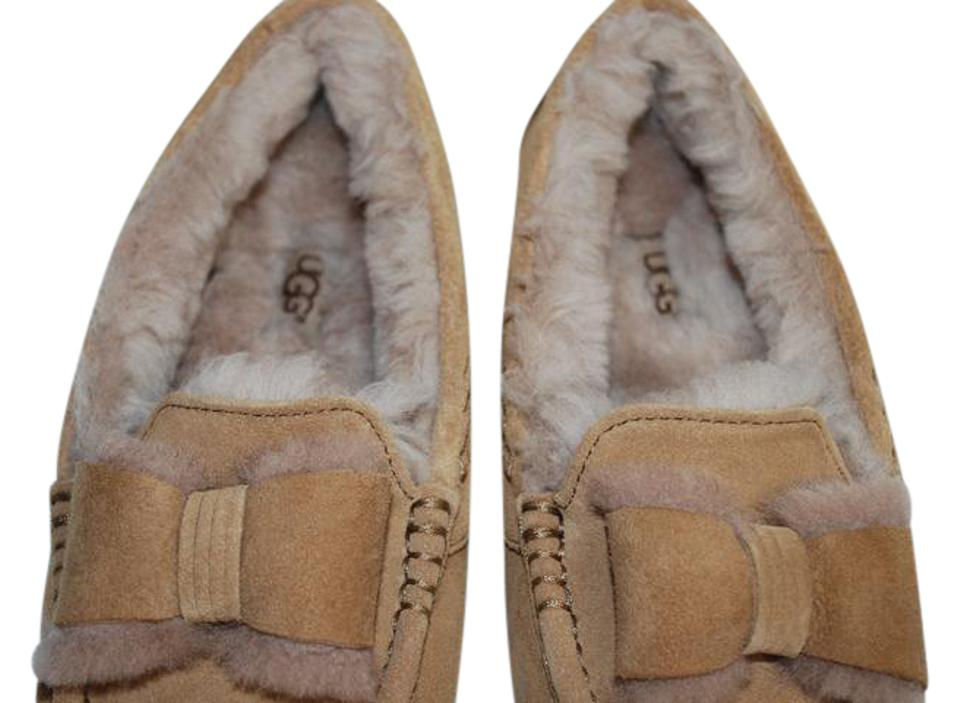 37e43de1d UGG Australia Suede Front Bow Women Slippers Suede/Wool Mocassin Style  Rubber Sole Chestnut Flats ...