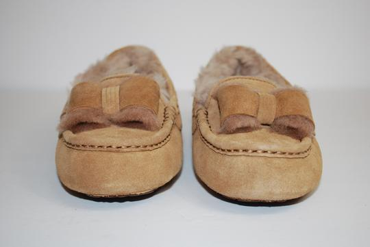 UGG Australia Suede Front Bow Women Slippers Suede/Wool Mocassin Style Rubber Sole Chestnut Flats Image 1