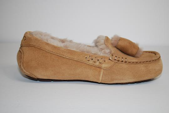 UGG Australia Suede Front Bow Women Slippers Suede/Wool Mocassin Style Rubber Sole Chestnut Flats Image 2