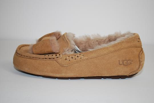UGG Australia Suede Front Bow Women Slippers Suede/Wool Mocassin Style Rubber Sole Chestnut Flats Image 3