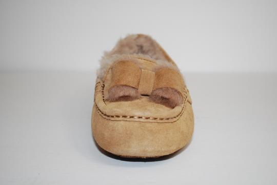 UGG Australia Suede Front Bow Women Slippers Suede/Wool Mocassin Style Rubber Sole Chestnut Flats Image 4