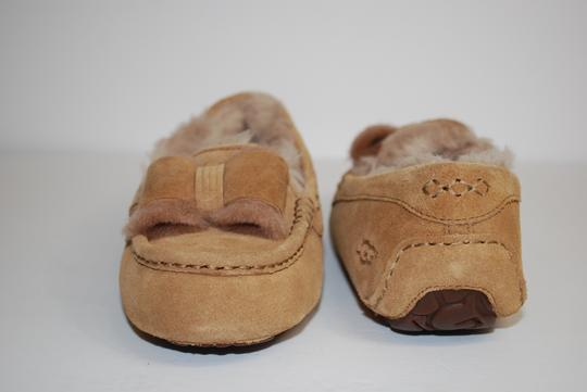 UGG Australia Suede Front Bow Women Slippers Suede/Wool Mocassin Style Rubber Sole Chestnut Flats Image 5