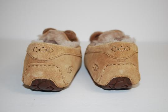 UGG Australia Suede Front Bow Women Slippers Suede/Wool Mocassin Style Rubber Sole Chestnut Flats Image 6
