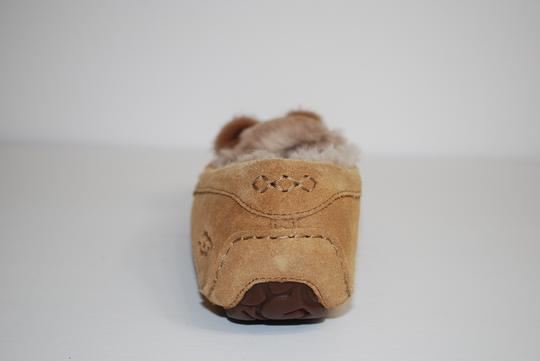UGG Australia Suede Front Bow Women Slippers Suede/Wool Mocassin Style Rubber Sole Chestnut Flats Image 7
