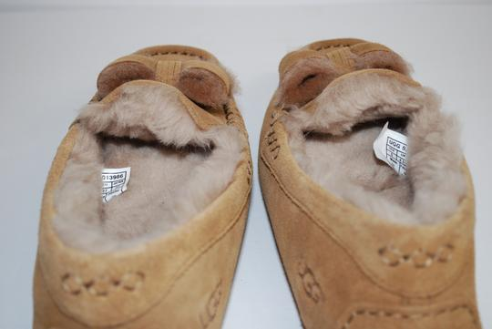 UGG Australia Suede Front Bow Women Slippers Suede/Wool Mocassin Style Rubber Sole Chestnut Flats Image 8