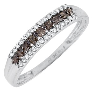 Other 3 Rows Brown and White Genuine Diamond Wedding Ring Band 0.20ct.