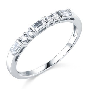 Dainty Solid 14k White Gold Wedding Man Made Diamond Size 5 6 7 8 9