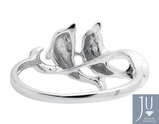 Other Ladies Twin Dolphin Wave Swirl Ribbon Genuine Diamond Ring 0.05ct Image 1