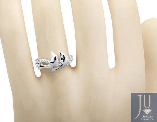 Other Ladies Twin Dolphin Wave Swirl Ribbon Genuine Diamond Ring 0.05ct Image 2