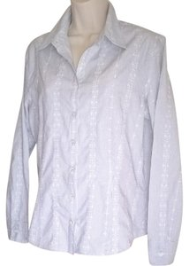 Ann Taylor Striped Office Casual Button Down Shirt Black and White