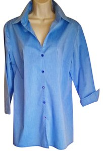 New York & Company Convertible Button Down Shirt Like NEW French Blue