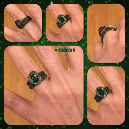Other New Oval 2PC Black Gold Filled Wedding Ring Set Image 2
