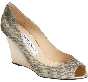 Jimmy Choo Wedding Gold Champagne Light Bronze Wedges