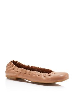 See by Chloé Chloe Chloe Scalloped Nude Beige Flats