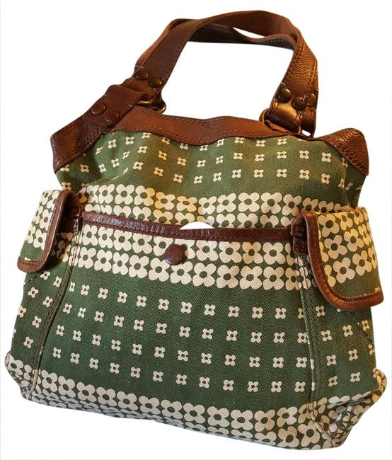 Item - Polyester Lining Green Brown Cream Cotton/Leather Trim Tote