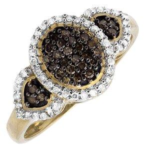 Other Three Stone Oval Cluster Cognac Brown/ White Diamond Ring 0.30ct