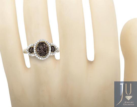 Other Three Stone Oval Cluster Cognac Brown/ White Diamond Ring 0.30ct Image 1