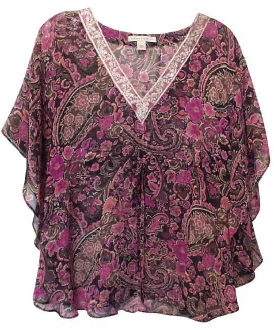 Preload https://img-static.tradesy.com/item/21146789/banana-republic-pink-black-fuchsia-white-silk-loose-and-airy-beaded-embroidered-neck-batwing-xs-s-bl-0-1-650-650.jpg