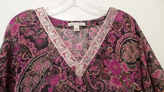 Banana Republic Tunic Long Embroidered Overlay Medium Top Pink, Black, Fuchsia, White + Image 1