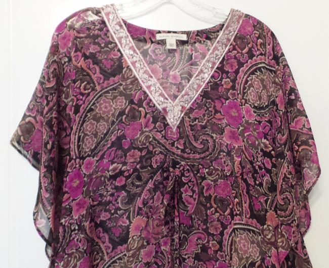 Banana Republic Tunic Long Embroidered Overlay Medium Top Pink, Black, Fuchsia, White + Image 2