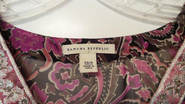 Banana Republic Tunic Long Embroidered Overlay Medium Top Pink, Black, Fuchsia, White + Image 4