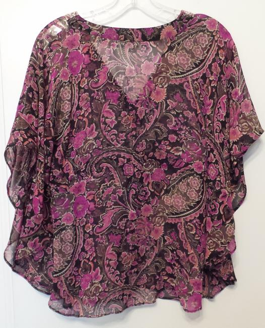 Banana Republic Tunic Long Embroidered Overlay Medium Top Pink, Black, Fuchsia, White + Image 6