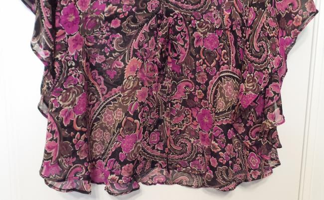 Banana Republic Tunic Long Embroidered Overlay Medium Top Pink, Black, Fuchsia, White + Image 7
