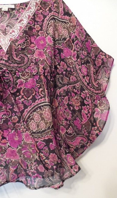 Banana Republic Tunic Long Embroidered Overlay Medium Top Pink, Black, Fuchsia, White + Image 9