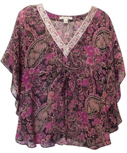 Banana Republic Tunic Long Embroidered Overlay Medium Top Pink, Black, Fuchsia, White +