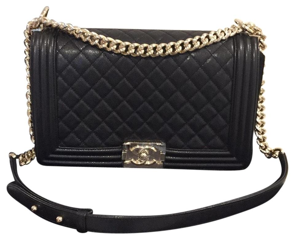 159cab1b0838 Chanel Boy Le New Medium Champagne Hardware Black Caviar Leather ...