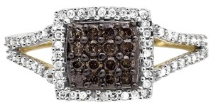 Other Square Halo White and Cognac Brown Diamond Engagement Ring 1/2ct