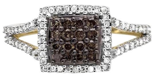 Preload https://img-static.tradesy.com/item/21146843/10k-yellow-gold-square-halo-white-and-cognac-brown-diamond-engagement-12ct-ring-0-1-540-540.jpg