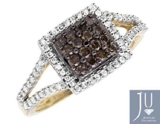 Other Square Halo White and Cognac Brown Diamond Engagement Ring 1/2ct Image 1