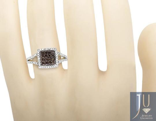 Other Square Halo White and Cognac Brown Diamond Engagement Ring 1/2ct Image 3