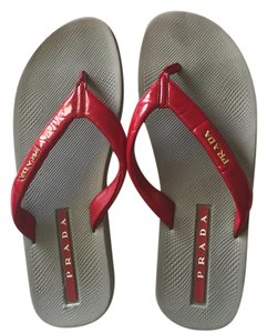 Prada red/gray/gold Sandals