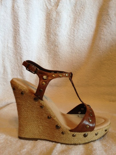 Classified Rhinestone And Brass Accents Brown Platforms