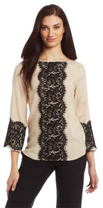 Karen Kane Top Almond With Blk Lace
