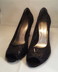 Adrianna Papell Arianna Papell Boutique Peep Toe Sequin Pumps Black Size 9 Wedding Shoes