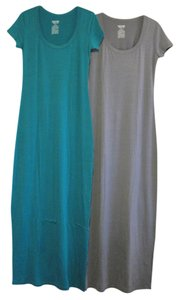 Gray/Teal Maxi Dress by Mossimo Supply Co. Maxi Scoop Neck Fitted