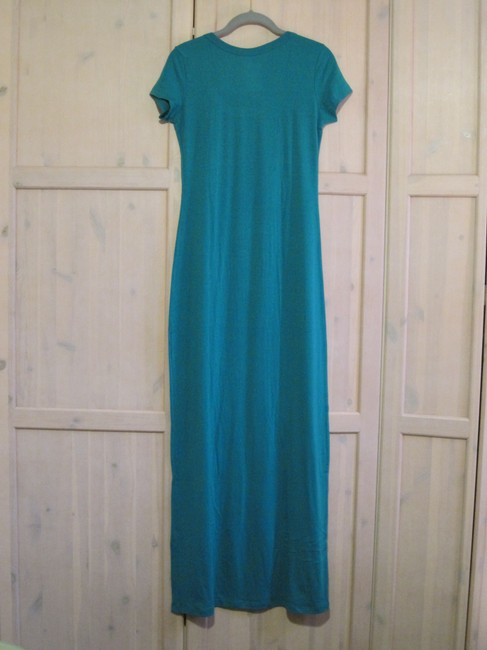 Gray/Teal Maxi Dress by Mossimo Supply Co. Maxi Scoop Neck Fitted Image 2