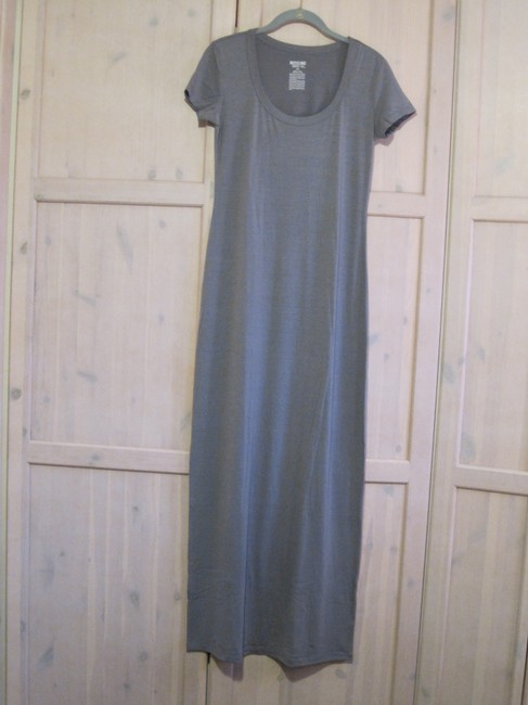 Gray/Teal Maxi Dress by Mossimo Supply Co. Maxi Scoop Neck Fitted Image 5