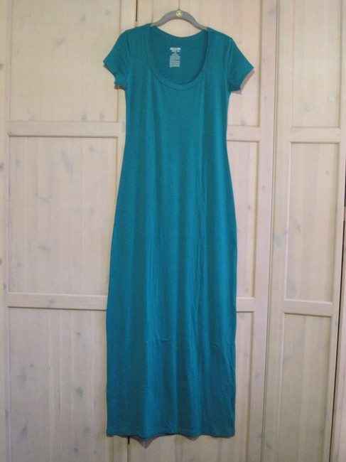 Gray/Teal Maxi Dress by Mossimo Supply Co. Maxi Scoop Neck Fitted Image 6
