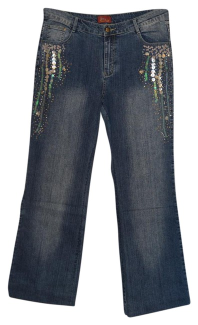 Item - Blue Embellished Denim 14l Boot Cut Jeans Size 36 (14, L)