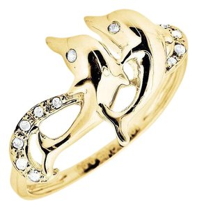 Other Twin Dolphin Wave Swirl Ribbon Genuine Diamond Ring 0.05Ct.