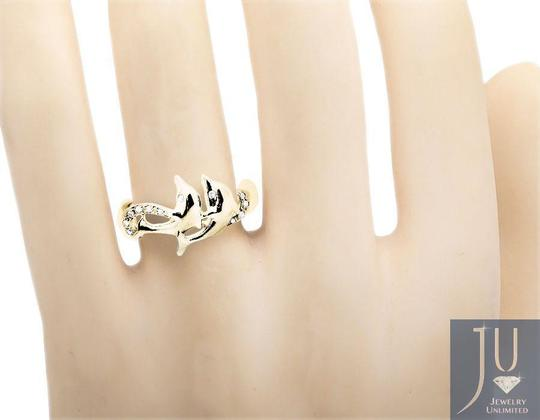 Other Twin Dolphin Wave Swirl Ribbon Genuine Diamond Ring 0.05Ct. Image 1