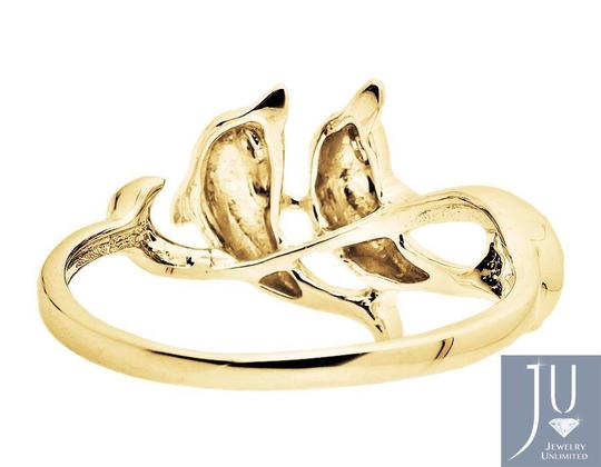 Other Twin Dolphin Wave Swirl Ribbon Genuine Diamond Ring 0.05Ct. Image 2