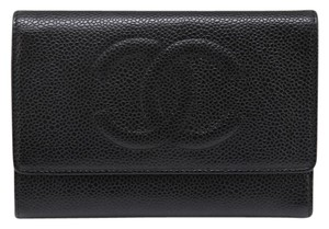 Chanel Chanel 2006 Black Caviar Leather Trifold Wallet Classic CC Stitching