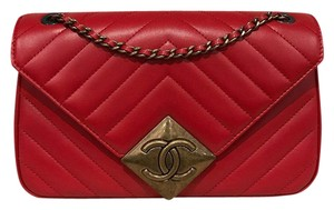Chanel Chevron Classic Quilted Pyramid Gold Cross Body Bag