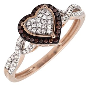 Other Heart Infinity Shank Brown And White Diamond Engagement Ring .20ct